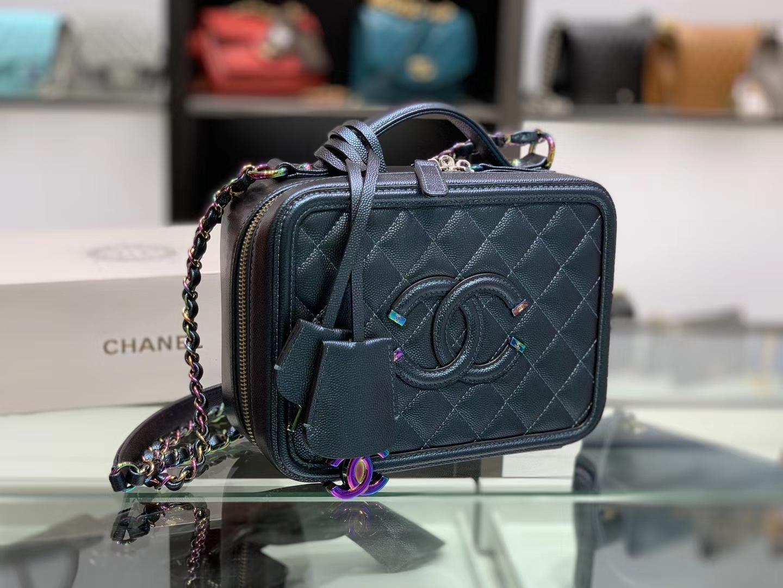 Chanel(香奈儿)化妆盒子包 墨绿色拼黑色 金扣 21cm