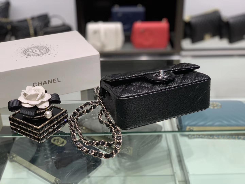 Chanel(香奈儿)cf # 链条包 细球纹 黑色 银扣 银链 20cm