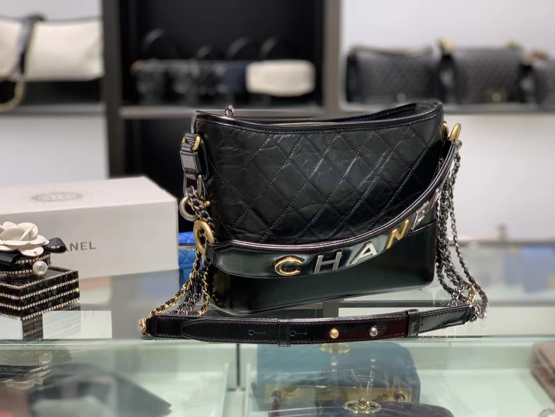 Chanel(香奈儿)手柄流浪包 黑色 原厂进口小牛皮 25cm