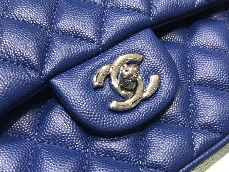 Chanel(香奈儿)cf # 链条包 宝蓝色 银扣 银链 23cm