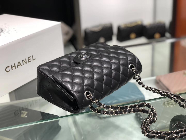 Chanel(香奈儿)cf # 链条包 羊皮 黑色 银扣 银链 23cm
