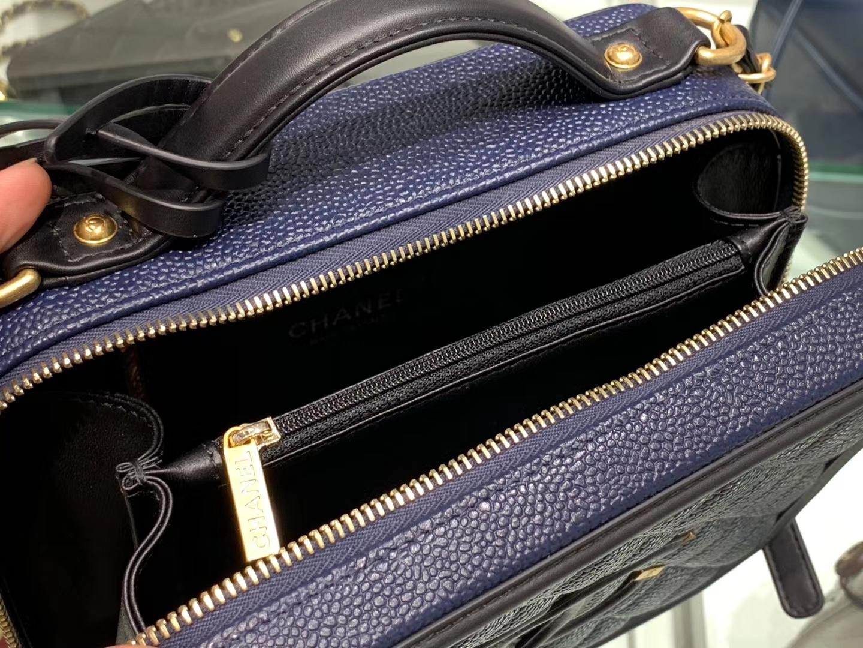 Chanel(香奈儿)化妆包 # 黑色拼蓝色 金扣 21cm