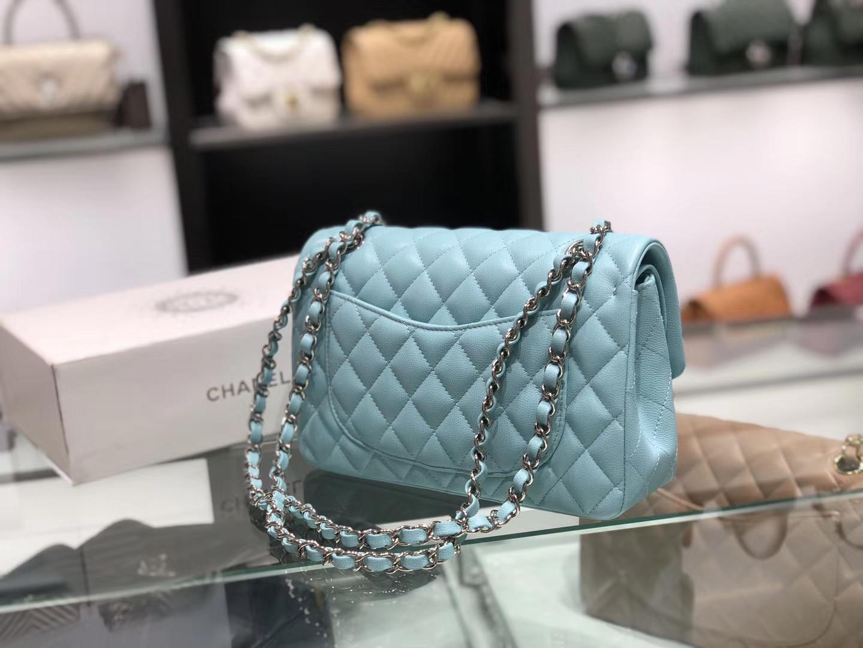 Chanel(香奈儿)cf # 链条包 薄荷蓝 银扣 银链 23cm