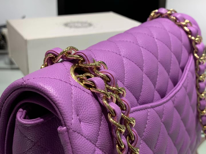 Chanel(香奈儿)cf # 链条包 细球纹 香芋紫 金扣 金链 25cm