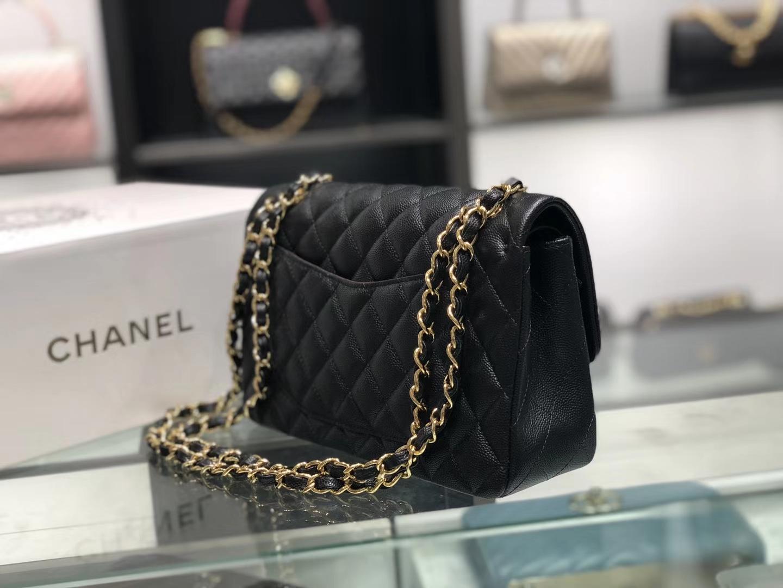 Chanel(香奈儿)cf # 链条包 黑色 金扣 金链 23cm