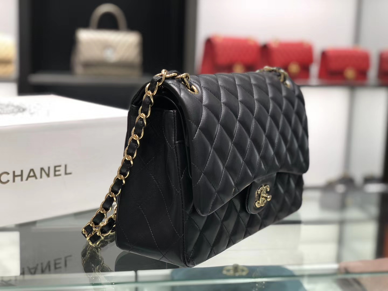 Chanel(香奈儿)cf # 链条包 羊皮 黑色 金扣 金链 30cm