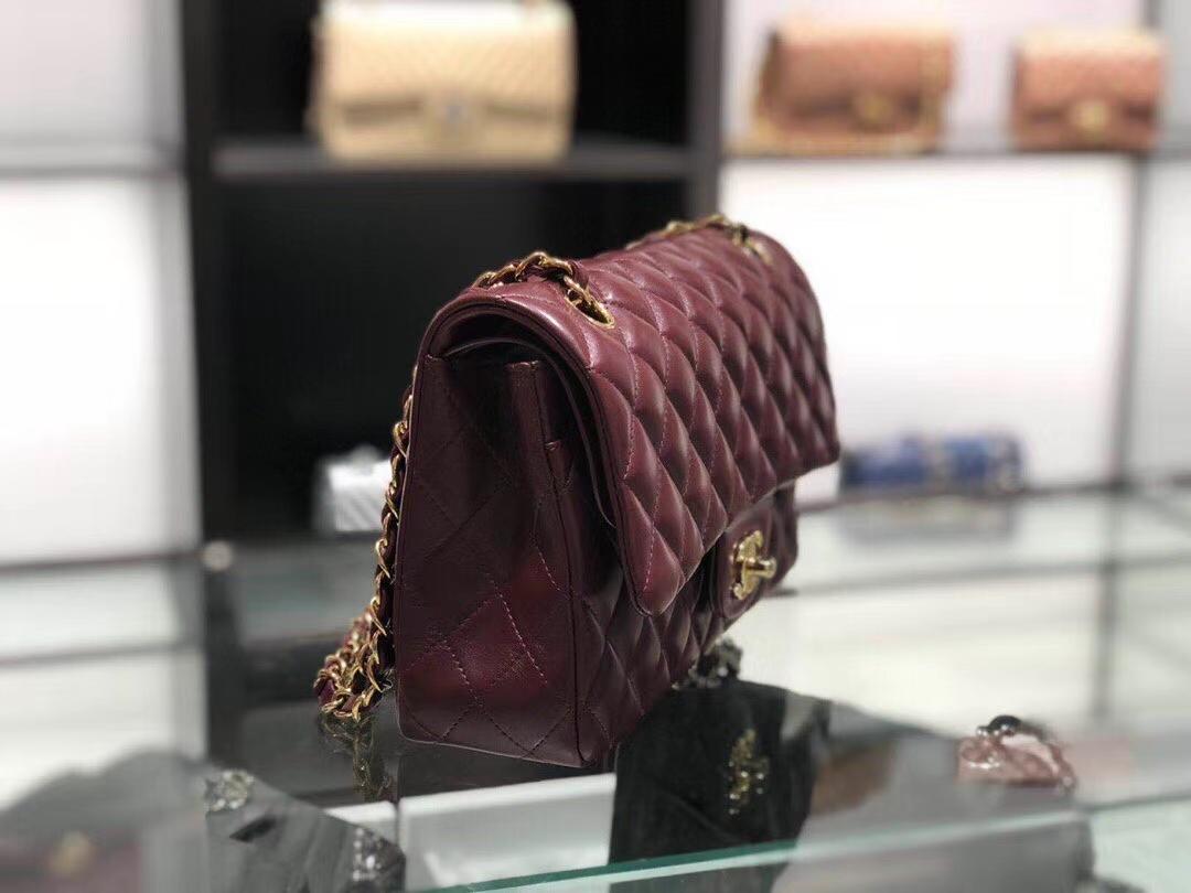 Chanel(香奈儿)cf # 链条包 枣红色 金扣 金链 25cm