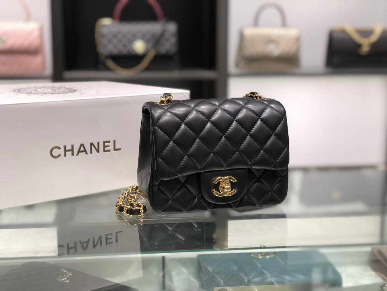 Chanel(香奈儿)cf # 链条包 羊皮 黑色 金扣 金链 17cm