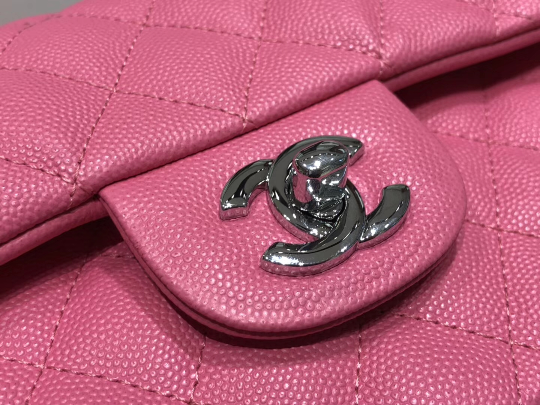 Chanel(香奈儿)cf # 链条包 玫红色 银扣 银链 23cm