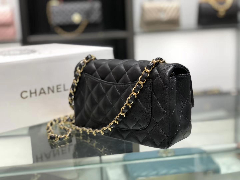 Chanel(香奈儿)cf # 链条包 羊皮 黑色 金扣 金链 20cm