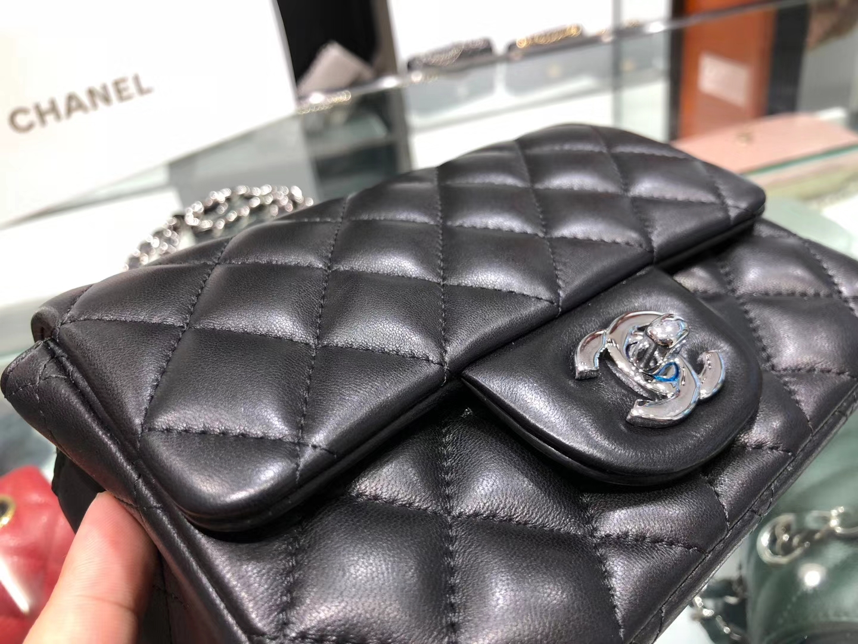 Chanel(香奈儿)cf # 链条包 羊皮 黑色 银扣 银链 17cm