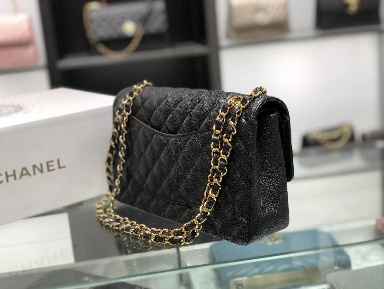 Chanel(香奈儿)cf jumbo 链条包 经典黑 金扣 金链 25cm