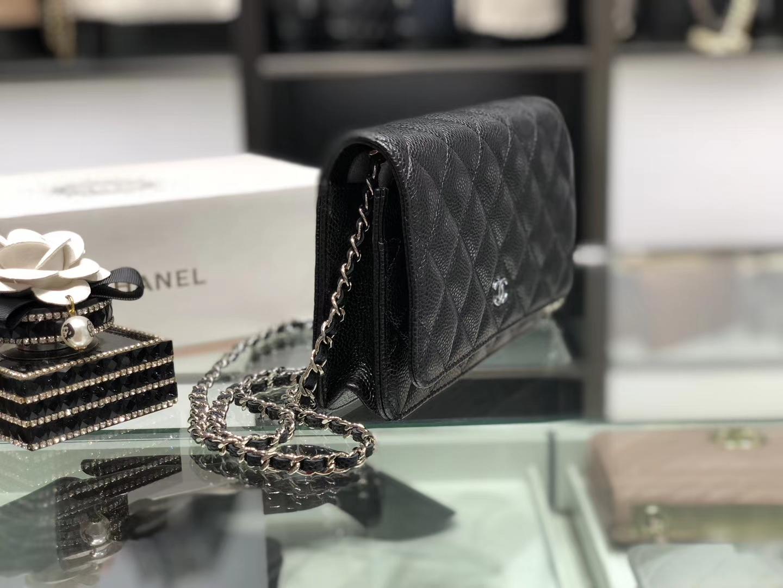 Chanel(香奈儿)最火 woc 发财包 链条包 黑色 银扣