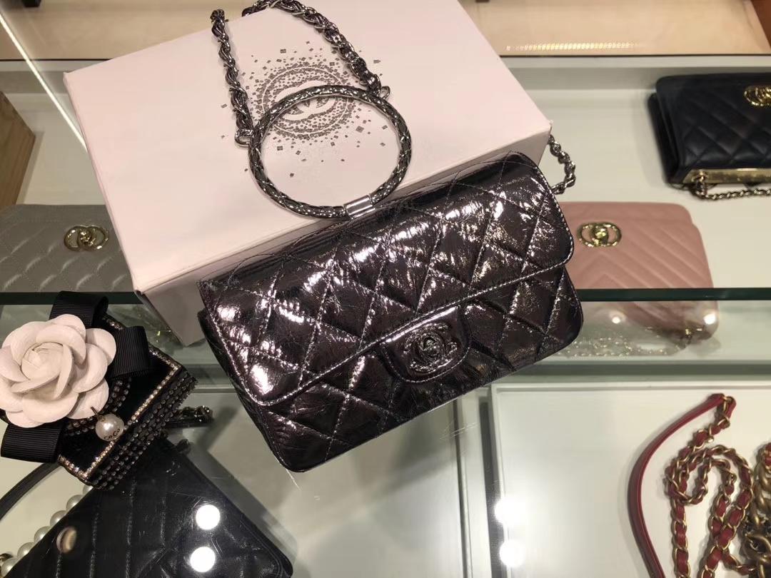 Chanel(香奈儿)CF # 圆环手环晚宴包 黑色 银扣
