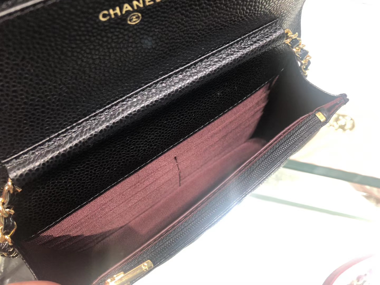 Chanel(香奈儿)最火 woc 发财包 链条包 黑色 金扣