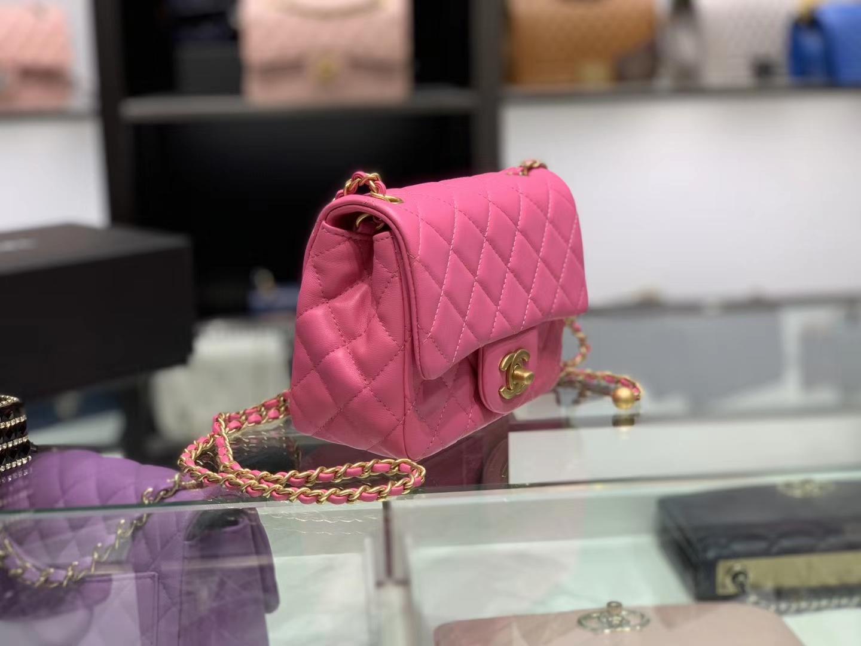 Chanel(香奈儿)最火 cf 方胖子 小金珠系列 玫红色 金扣 18cm