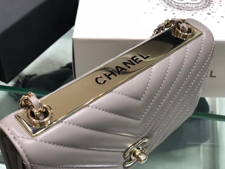 Chanel(香奈儿)trendy cc系列 手袋 woc 链子晚宴包 斑鸠灰 V纹 金扣 19cm