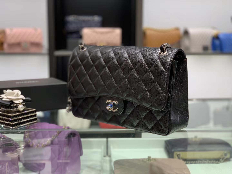 Chanel(香奈儿)cf jumbo 链条包 经典黑 银扣 银链 30cm