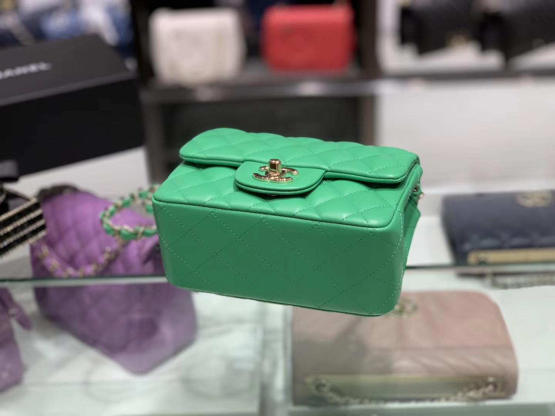 Chanel(香奈儿)cf # 链条包 方胖子 绿色 羊皮 金扣 金链 17cm