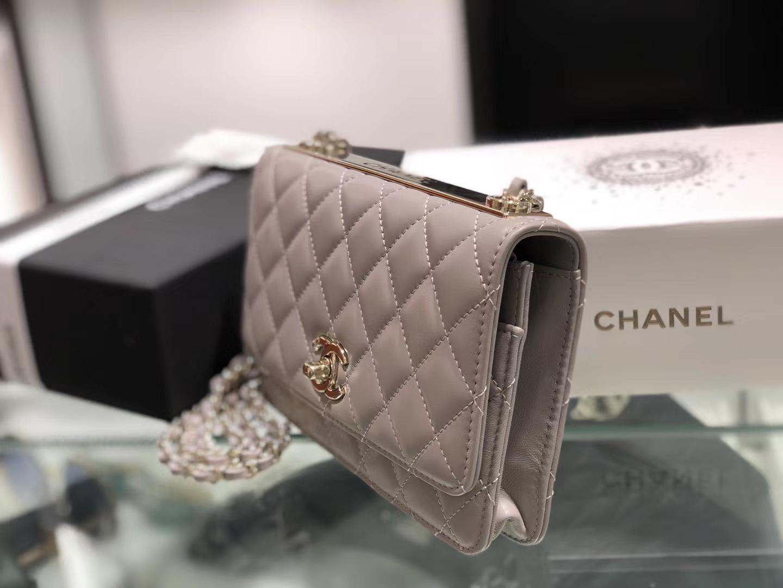 Chanel(香奈儿)trendy cc系列 手袋 woc 链子晚宴包 斑鸠灰 菱格 金扣 19cm