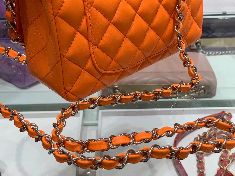 Chanel(香奈儿)cf # 链条包 mini 橘色 金扣 金链 20cm