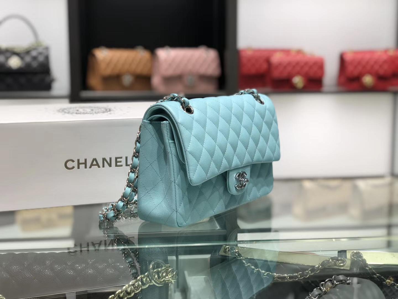 Chanel(香奈儿)cf # 链条包 薄荷蓝 细球纹 银扣 银链 25cm