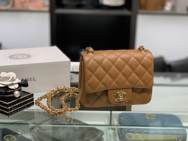Chanel(香奈儿)cf 链条包 方胖子 细球纹 金棕色 金扣 金链 17cm
