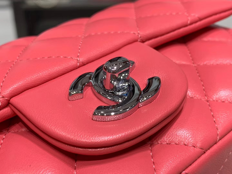 Chanel(香奈儿)cf # 链条包 mini 粉色 银扣 银链 20cm