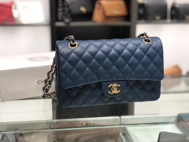 Chanel(香奈儿)cf # 链条包 藏蓝 细球纹 金扣 金链 25cm