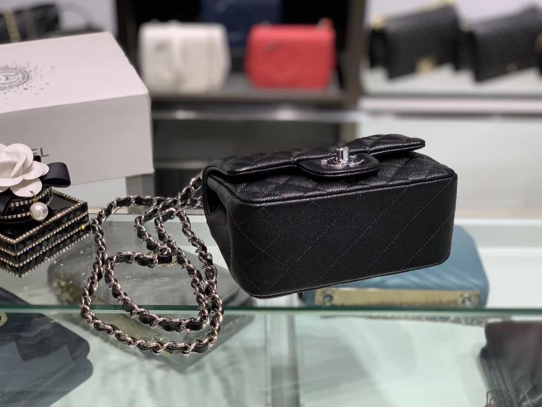 Chanel(香奈儿)cf # 链条包 方胖子 黑色 银扣 银链 17cm