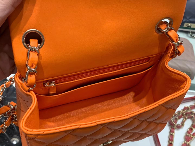 Chanel(香奈儿)cf # 链条包 方胖子 橘色 羊皮 金扣 金链 17cm