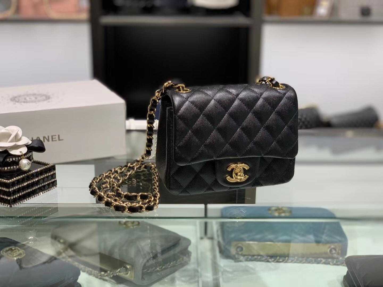 Chanel(香奈儿)cf 链条包 方胖子 细球纹 黑色 金扣 金链 17cm