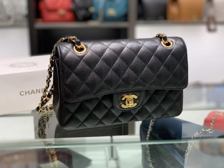 Chanel(香奈儿)cf jumbo 链条包 经典黑 金扣 金链 23cm