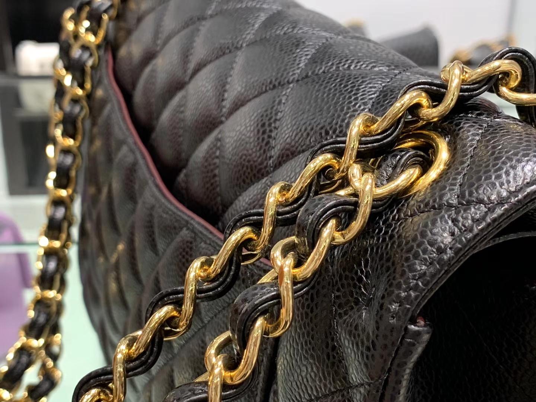 Chanel(香奈儿)cf jumbo 链条包 经典黑 金扣 金链 30cm