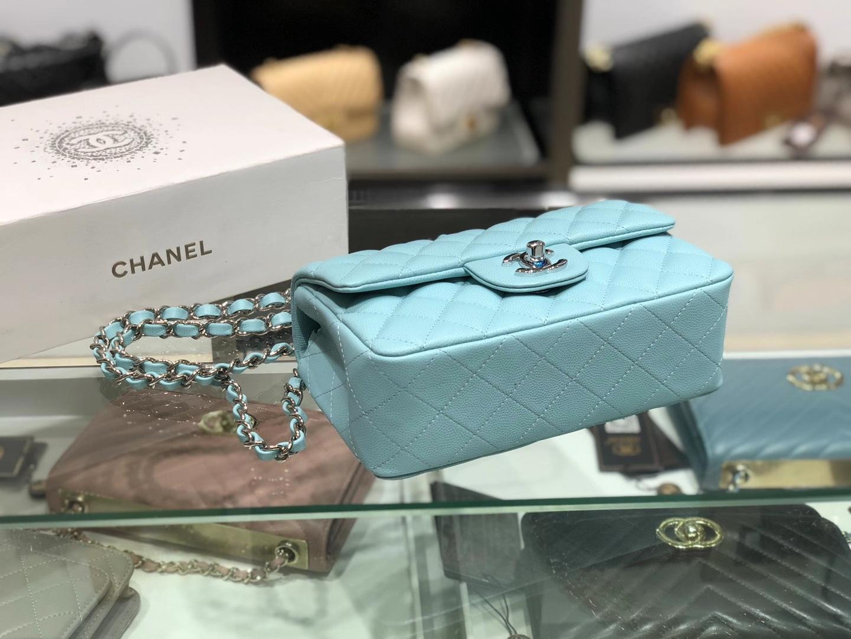 Chanel(香奈儿)cf  链条包 薄荷蓝 细球纹 银扣 银链 17cm