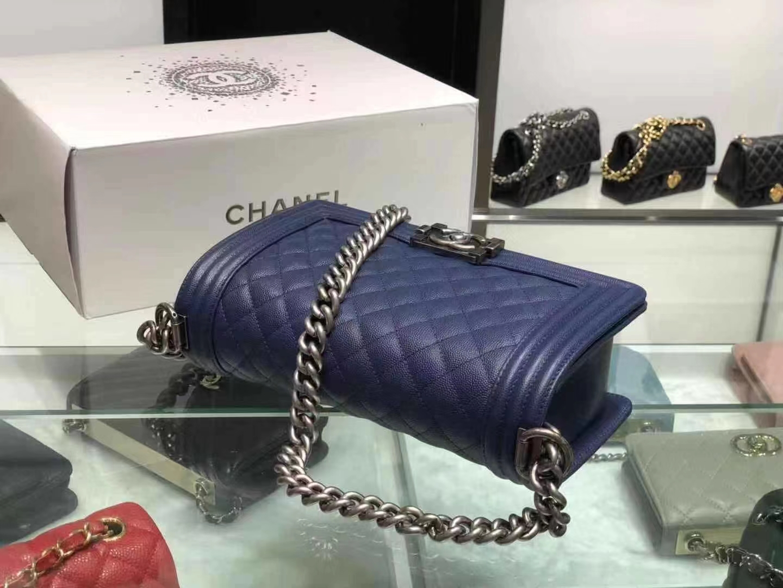 Chanel(香奈儿)Leboy 球纹皮配搭复古砂银 深蓝色 25cm