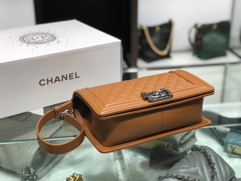 Chanel(香奈儿)Leboy 球纹皮配搭复古砂银 金棕色 25cm