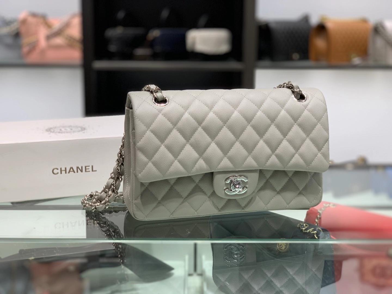 Chanel(香奈儿)cf # 链条包 风衣灰 细球纹 银扣 银链 25cm