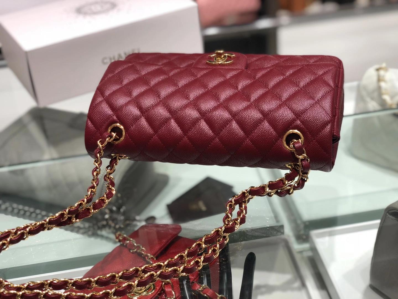 Chanel(香奈儿)cf # 链条包 酒红色 细球纹 金扣 金链 25cm
