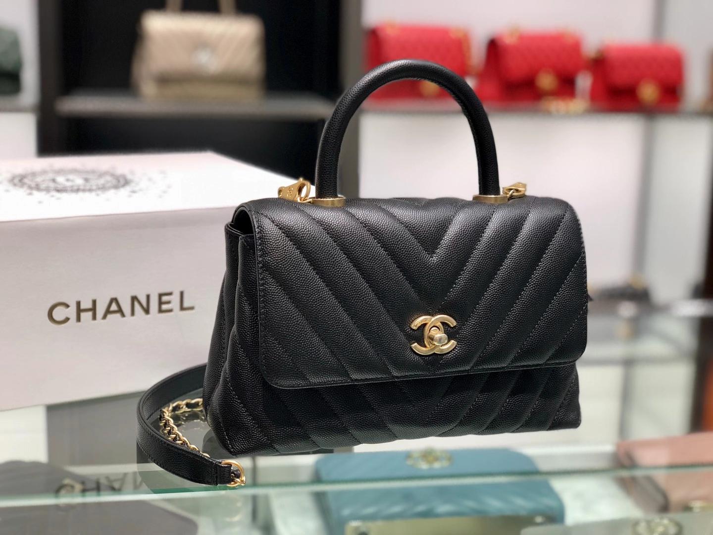 Chanel(香奈儿)coco handle 小号 V格 黑色 金扣 24cm