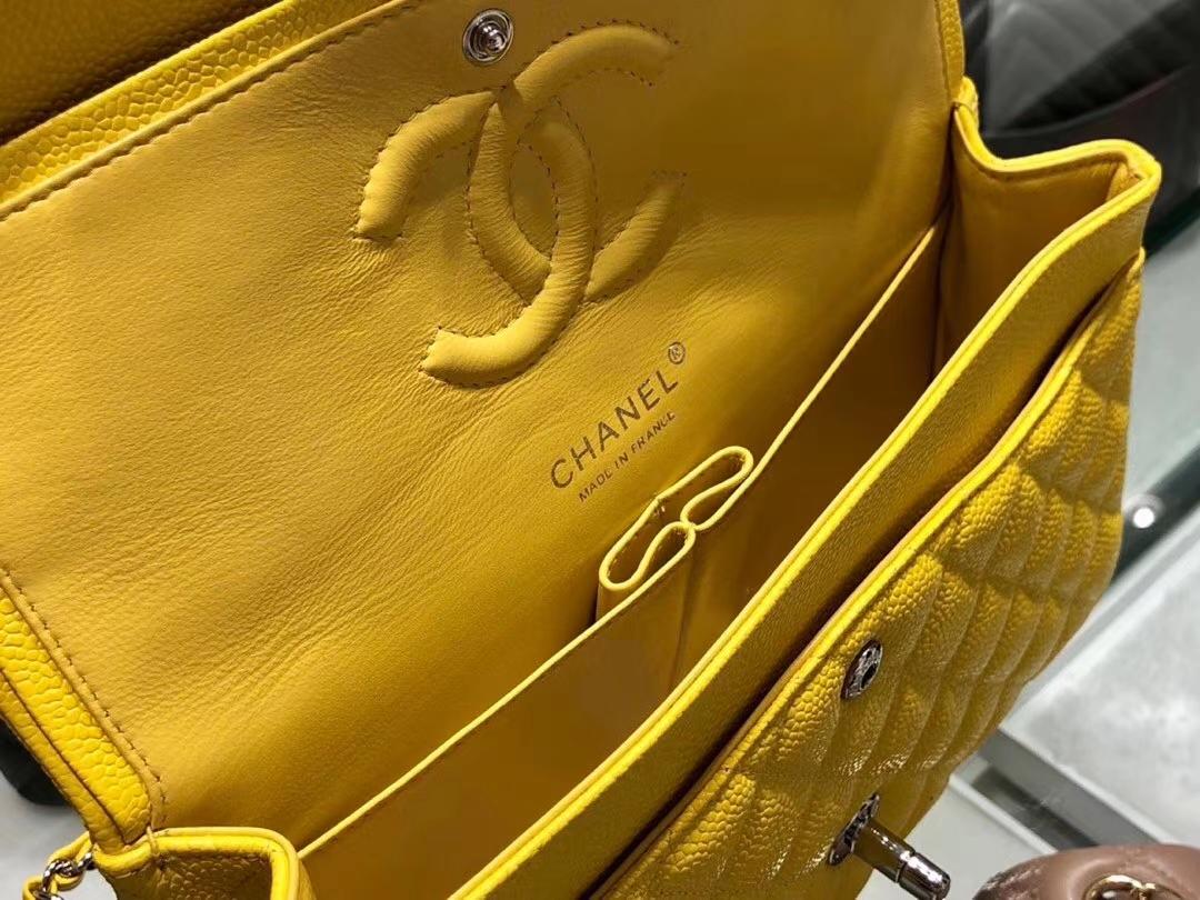 Chanel(香奈儿)cf # 链条包 明黄色【鱼子酱】 银扣 银链 25cm