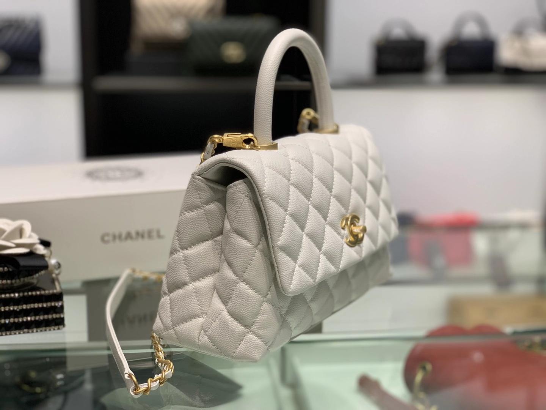 Chanel(香奈儿)coco handle 小号 菱格 白色 金扣 24cm