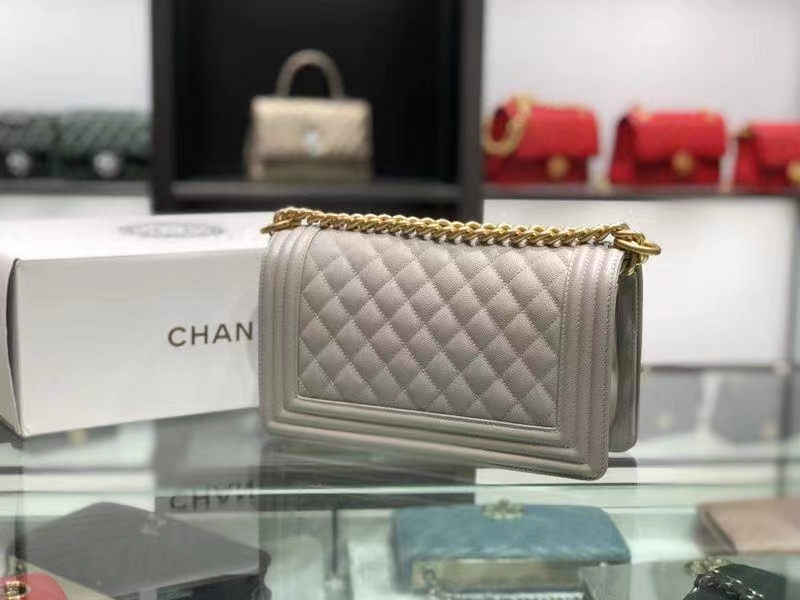 Chanel(香奈儿)Leboy 球纹皮配搭复古砂金 灰白色 25cm
