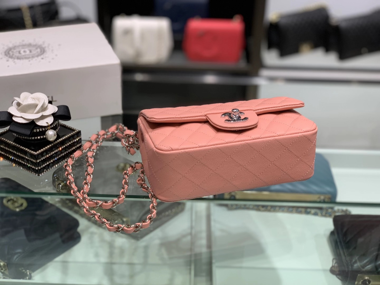 Chanel(香奈儿)cf  链条包 奶昔粉 细球纹 银扣 银链 17cm