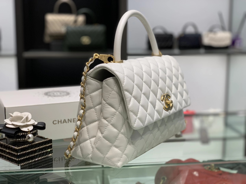 Chanel(香奈儿)coco handle 中号 菱格 白色 金扣 29cm