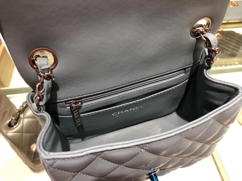 Chanel(香奈儿)最火 cf 链条包 牛仔蓝 羊皮 银扣 银链 17cm