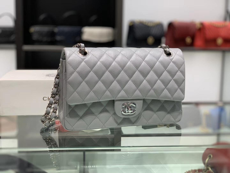 Chanel(香奈儿)cf # 链条包 巴黎灰【鱼子酱】 银扣 银链 25cm
