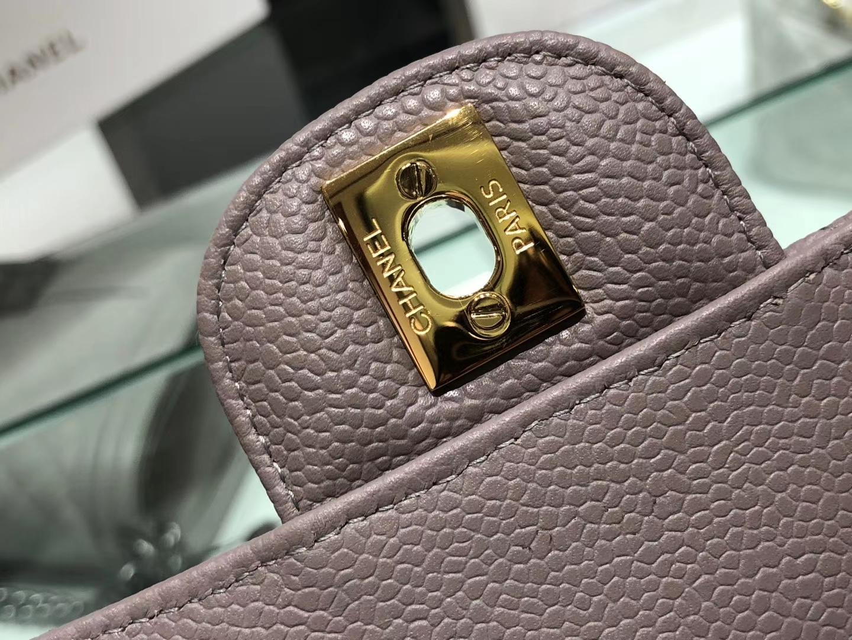 Chanel(香奈儿)cf # 链条包 大象灰 【鱼子酱】 金扣 金链 25cm