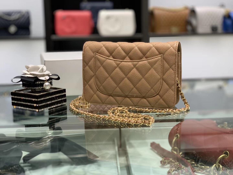 Chanel(香奈儿)𝓦𝓞𝓒 经典菱格包 鱼子酱发财包 金棕色 金扣 19.5cm