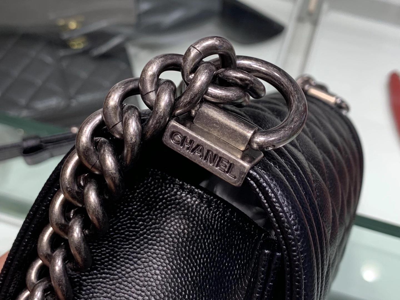 Chanel(香奈儿)Leboy 球纹皮配搭复古砂银 菱格 黑色 20cm